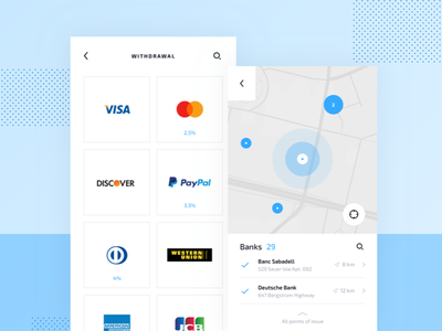 Crypto Mobile UI Kit: Bank Location freebie free token ico fintech map cryptocurrency kit location bitcoin crypto mobile