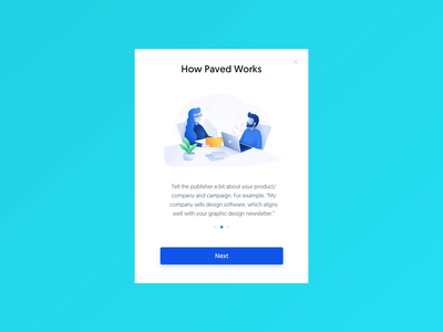 Paved – Request Campaign Modal Animation app homepage landing page webpage ui interface email product modal animation request popup onboarding