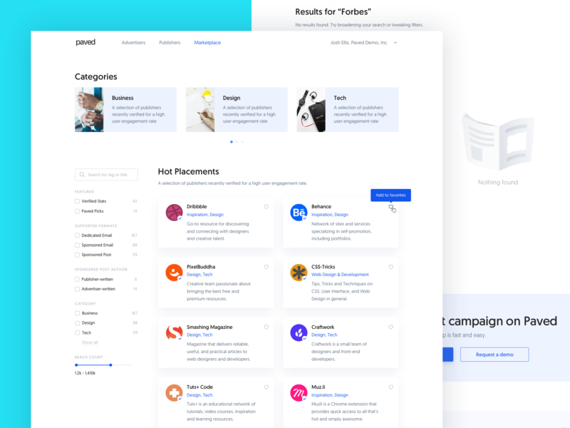 Paved – Marketplace Homepage