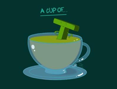 A cup of Green Tea ipad art funny illustration cute illustration procreate art procreate vector illustration design