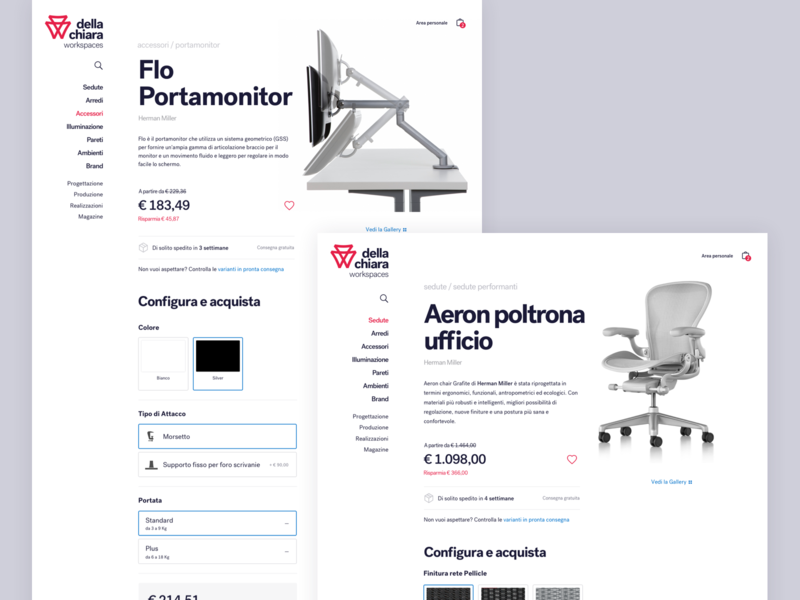 Della Chiara - Products page webdesign ui typography minimal furniture design