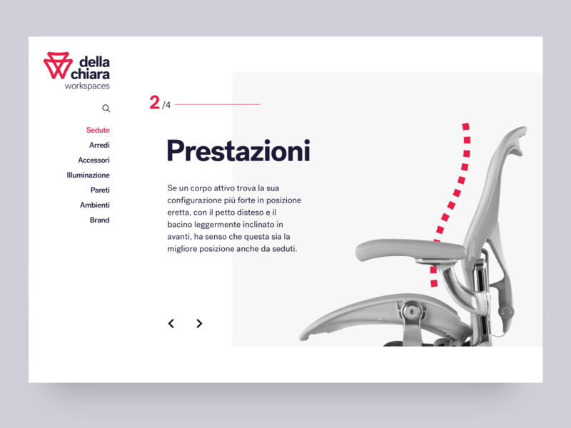 Della Chiara - Product page, gallery detail gallery slideshow furniture webdesign ui typography minimal