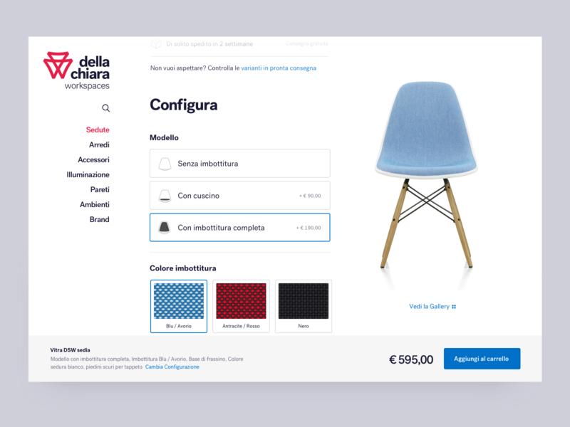 Della Chiara - Product Page, configurator chair configurator furniture typography webdesign ui minimal
