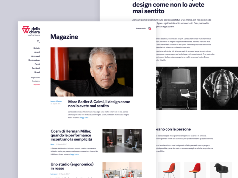 Della Chiara - Magazine typography minimal webdesign website furniture ui interior design design journal magazine