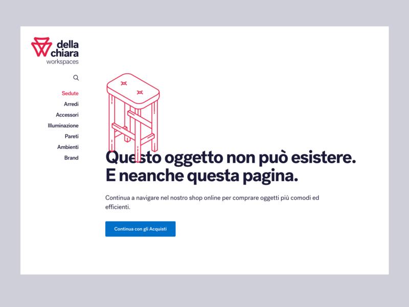 Della Chiara  - Error 404 furniture typography ui webdesign illustration minimal