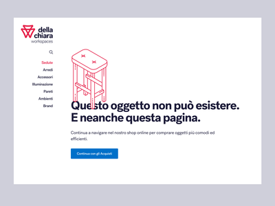 Della Chiara  - Error 404 furniture typography ui webdesign illustration minimal