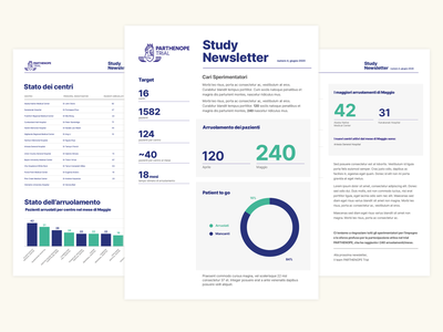 Parthenope Trial  - Montly Report brand report newsletter print typography