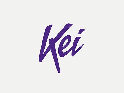 Kei purple graphic design script handwrite brand logo