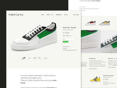 nmlss footwear - product sheet colorblock typography vector design ui ecommerce interaction shopify footwear shop slider homepage