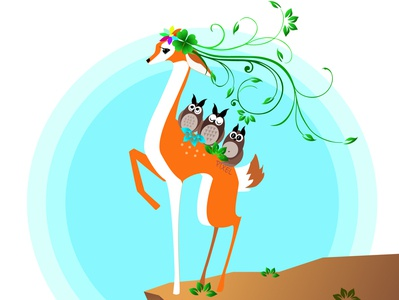 Forest deer and small animals flat web vector illustration design
