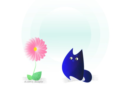 once upon a time there was a blue cat art illustrator minimal logo web vector illustration design