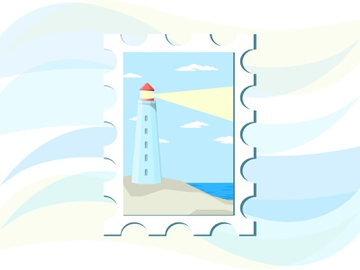 Lighthouse Postcard postcard lighthouse illustration art illustrator vectorart vector art vector illustration art illustration design vector card