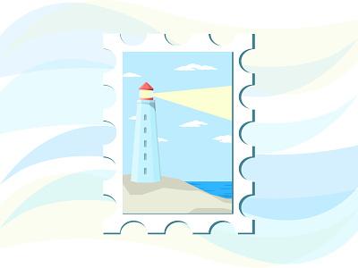 Lighthouse Postcard postcard lighthouse illustration art illustrator vectorart vector art vector illustration art illustration design vector card