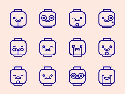 LEGO heads icon icons lego flat stroke head emoticons happy