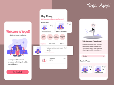 YOGA APP figma photoshop illustration ui  ux uiux creative app uidesign ux ui design design adobe xd adobexd