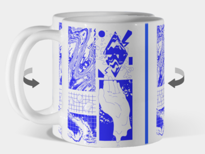 H form mug hand grid blueprint lineart illustraion