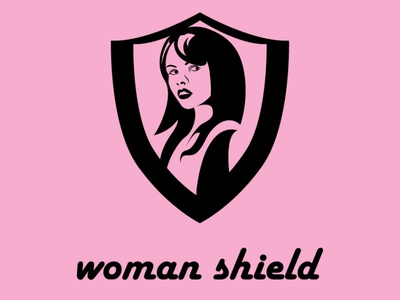 woman shield lady pink work woman flat art vector minimal logo illustrator illustration branding design