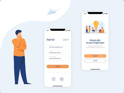 Sign Up | Log In Form illustraion log in sign in mobile app design
