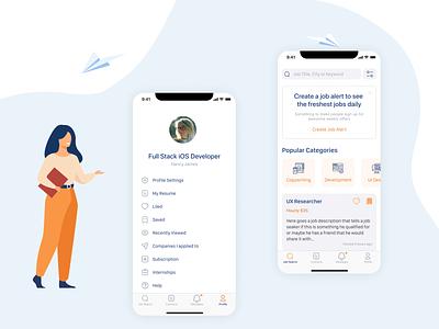 Profile and Job Board  Screens minimalistic ui illustraion mobile design mobile app job listing