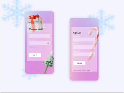 Christmas Gradient Sign Up and Log In Screens glassmorphism gradient festive holiday christmas log in sign up 3d mobile design sign in mobile app