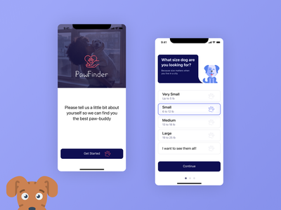Onboarding Process redesign for pet adoption app in the city mobile pets animals ux ios mobile design illustraion mobile app onboarding