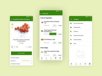 E-commerce Grocery store design for Android prototype animation list grocery app user account product page android material ux mobile design mobile app