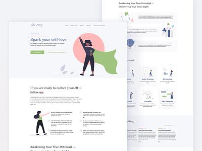 Landing page for a self improvement course inspiration web psychology self development self help landing page design illustraion