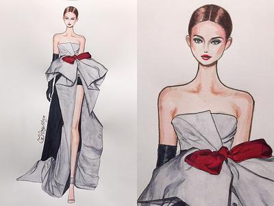 valentino❤️ run way fashionmodel pfw fashionweek fashionsketch water color handdraw illustration fashionart fashionillustration fashion