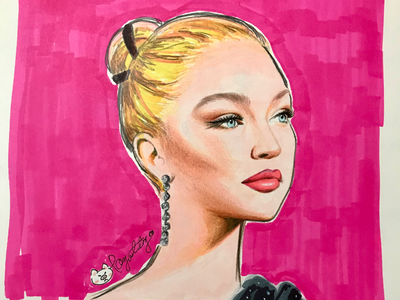 gigi hadid✨ fashionmodel portrait handdraw fashionillustration sketch fashion