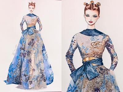 eliesaab✨ fashionshow art dress eliesaab fashionillustration fashionsketch pariscollection paris fashion
