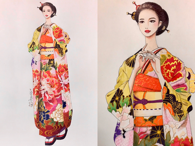 kimono❤️ girl women traditional handdraw draw kimono japan japanese fashion sketch