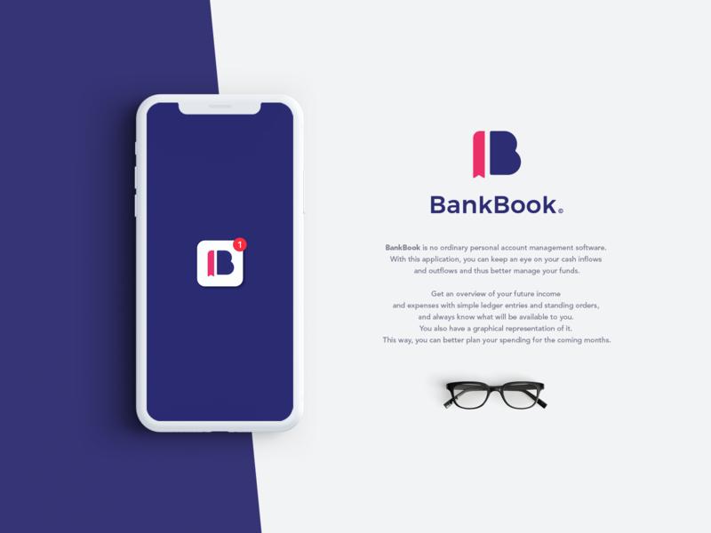 BankBook phone mockup creative logo logo design brand identity design brand identity brand illustrator app branding vector minimal logo design icon flat