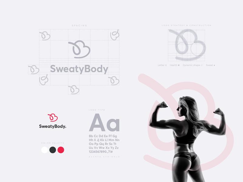 SweatyBody logo illustration flat design creative logo branding brand identity design brand identity brand