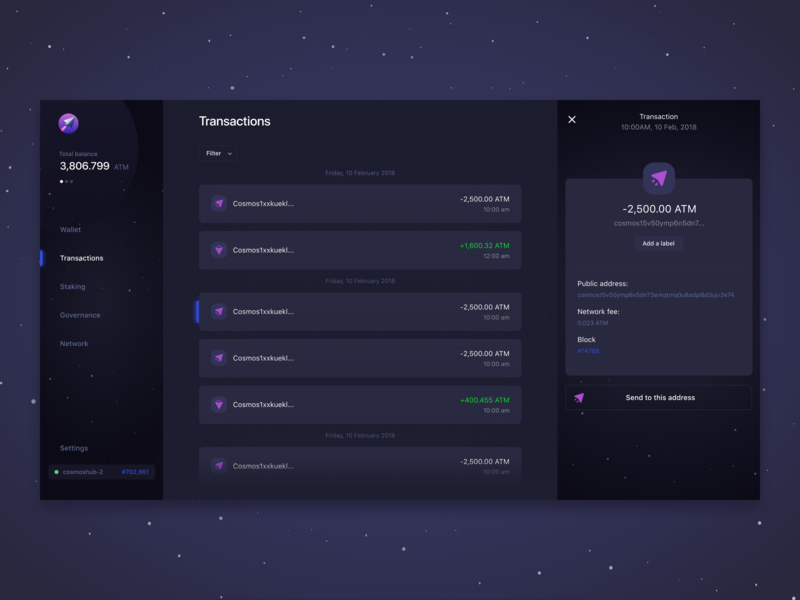 Lunie.io - Interacting with the Cosmos Hub web design dark dashboard staking currency governance wallet crypto blockchain atom lunie cosmos ui ux app