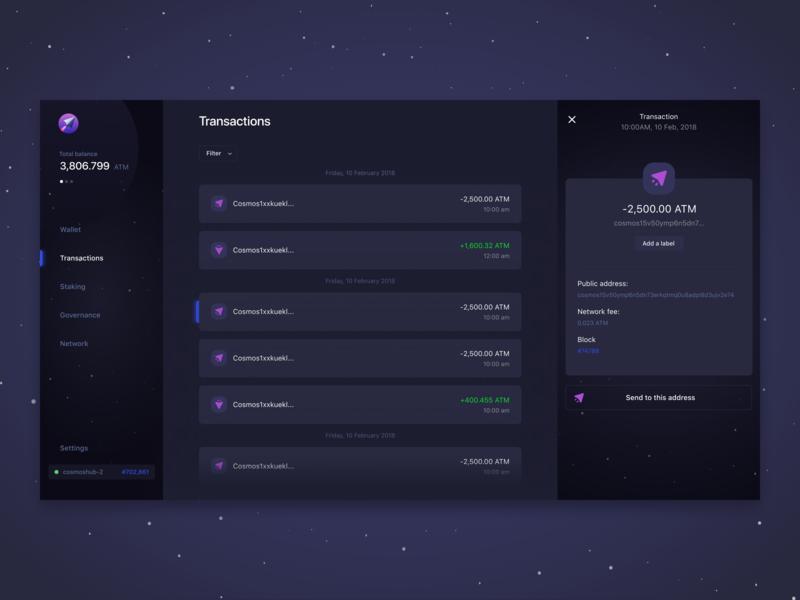 Lunie.io - Interacting with the Cosmos Hub web design dark dashboard staking currency governance wallet crypto blockchain atom lunie cosmos ui ux app