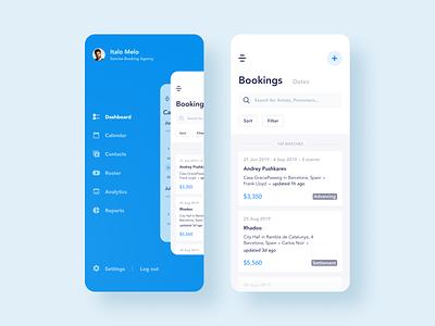 Booking Management App Design management menu screen blue minimal events manage booking dj artists mobile design ux ui app