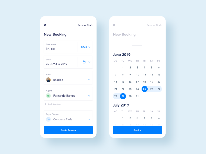 Booking Management App. Create a New Booking ux ui screen mobile calendar minimal management manage events dj design booking blue artists app