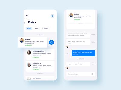 Booking Management App. Dates & Chat ui ux screen mobile minimal management manage events dj design booking blue chat artists app