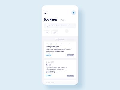 Booking Management App Design artists mobile ux screens minimal menu dj design app design booking blue interaction micro-interactions app