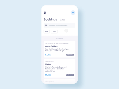 Booking Management App Design artists mobile ux screens minimal menu dj design app design booking blue interaction micro-interactions app