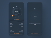 Custom Temperature Controller For Your Mattress design mobile product clean concept controller night mode dark theme dark mode device temperature skeuomorph dark app ui ux internet of things