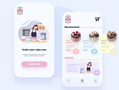 Cake Ordering System App mobileapp ux vector mobile ui ui mobileapplication illustration appdesign