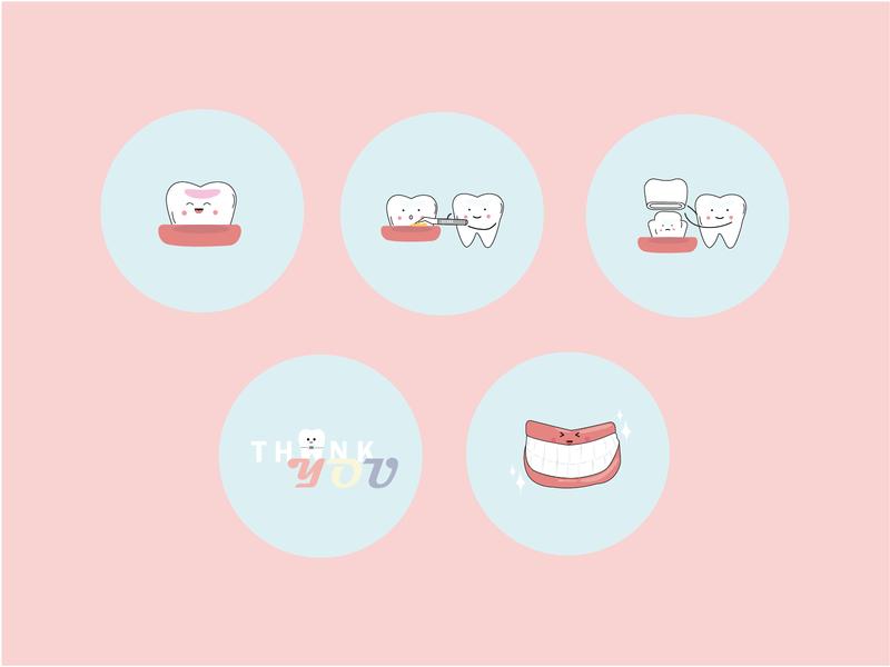 Dental Instagram Highlight Icons teeth vectorillustration dental clinic icon graphic design vector illustration design