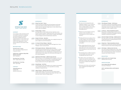 Resume Rebranded resume page layout branding