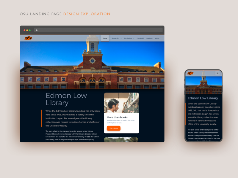 Edmon Low Library Landing Page Exploration redesign mobile landing page desktop