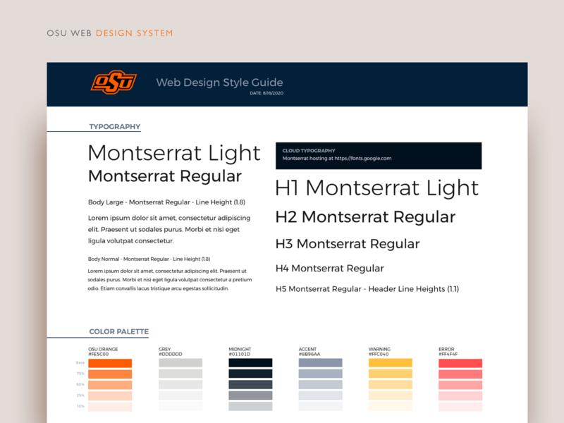 Website Design System website typography design system color palette