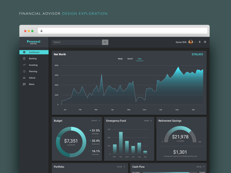 Financial Advisor Dark Mode Design Exploration redesign finance desktop dark mode