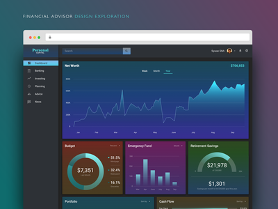 Financial Advisor Dark Mode & Widget Design Exploration redesign gradients finance desktop dark mode