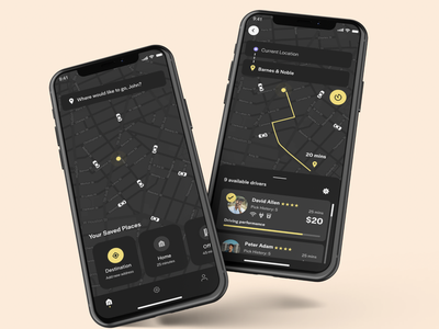 Ride Hailing App black yellow dark mode dark mode app taxi booking app taxi app taxi ui car app ui app design ride sharing app ux ui adobexd uber ubereats ride hailing ridesharing ride share ride app