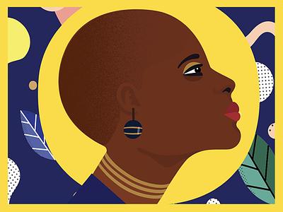 Hawa - First Dribble Shot vector design leaves illustration blackart blue patterns woman female black girl character
